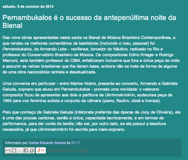 Carlos Amaral | Blog Audições Brasileiras, 05/10/2013
